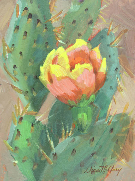 Cactus Flower Wall Art - Painting - Prickly Pear Cactus Bloom by Diane McClary