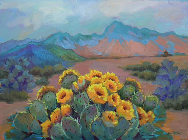 Wall Art - Painting - Prickly Pear In The Desert by Diane McClary