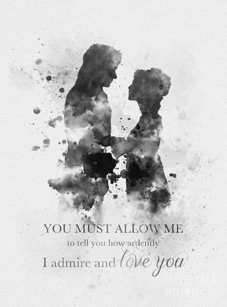 Jane Austen Wall Art - Mixed Media - Pride And Prejudice Black And White by My Inspiration
