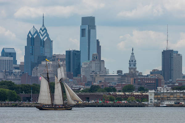 Photograph - Pride Of Baltimore II Philadelphia Skyline by Terry DeLuco