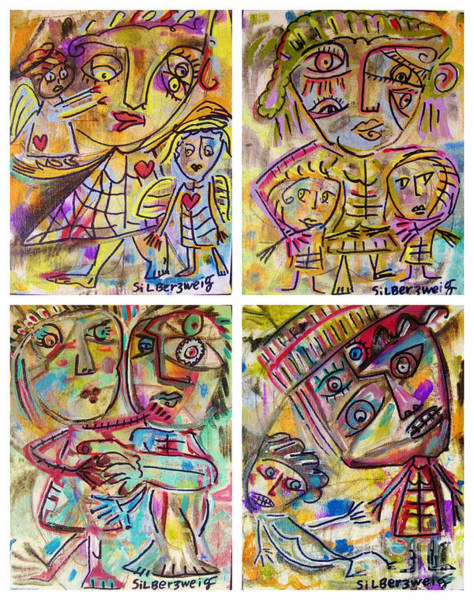 Painting - 0 Primative Family Scenes by Sandra Silberzweig