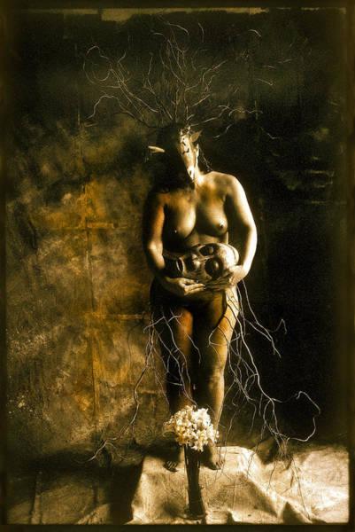 Primitive Woman Holding Mask Art Print