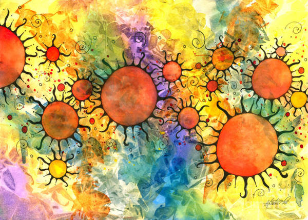 Mixed Media - Primordial Suns 2 by Kristen Fox
