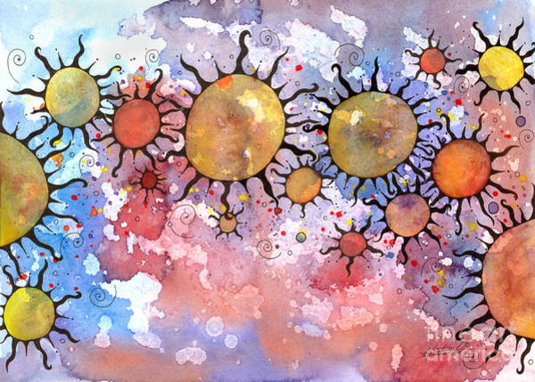 Mixed Media - Primordial Suns 3 by Kristen Fox