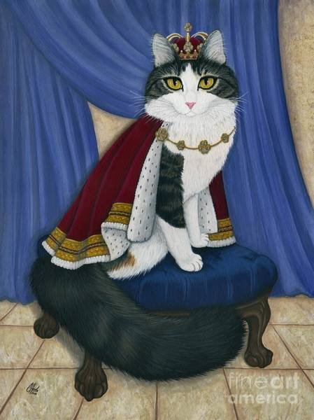 Painting - Prince Anakin The Two Legged Cat - Regal Royal Cat by Carrie Hawks