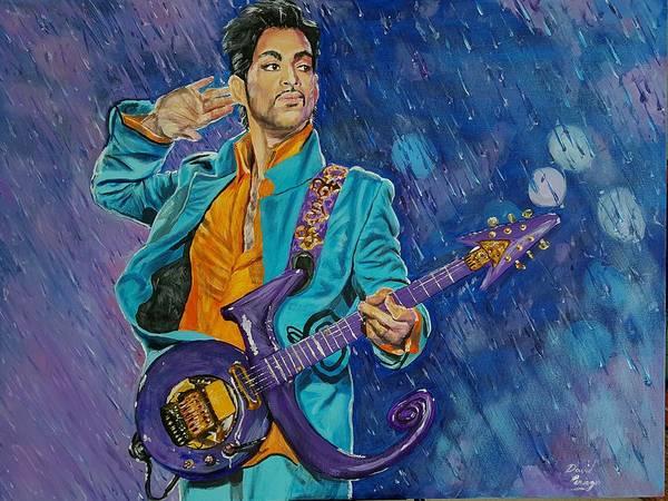 Wall Art - Painting - Prince At Super Bowl  by David Peninger