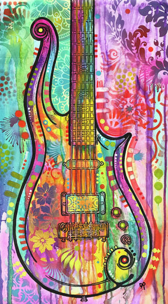 Painting - Prince Cloud Guitar by Dean Russo Art