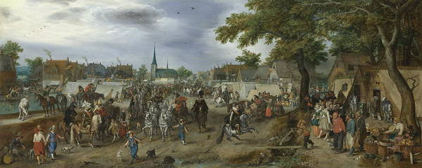 Commodity Painting - Prince Maurice And Frederick Henry At The Valkenburg Horse Fair, 1618 by Adriaen Pietersz Van De Venne