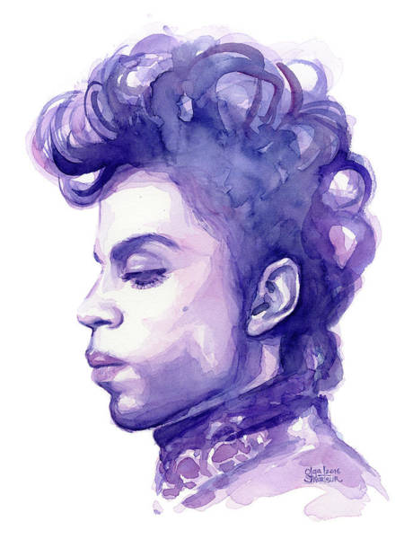 Musician Wall Art - Painting - Prince Musician Watercolor Portrait by Olga Shvartsur