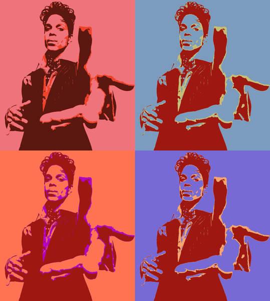 Purple Rain Digital Art - Prince Pop Art Panels by Dan Sproul