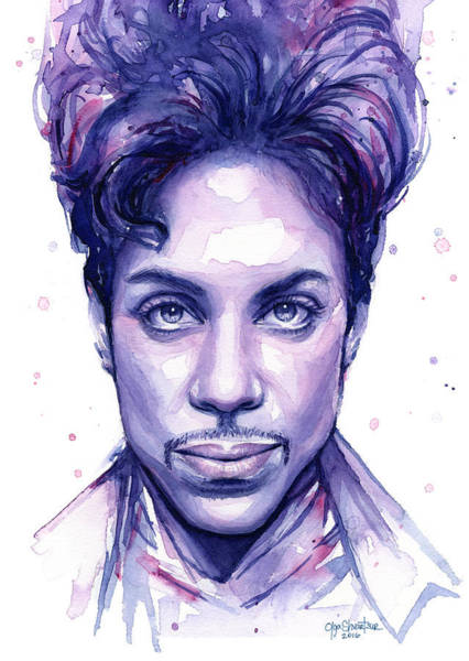 Musician Wall Art - Painting - Prince Purple Watercolor by Olga Shvartsur