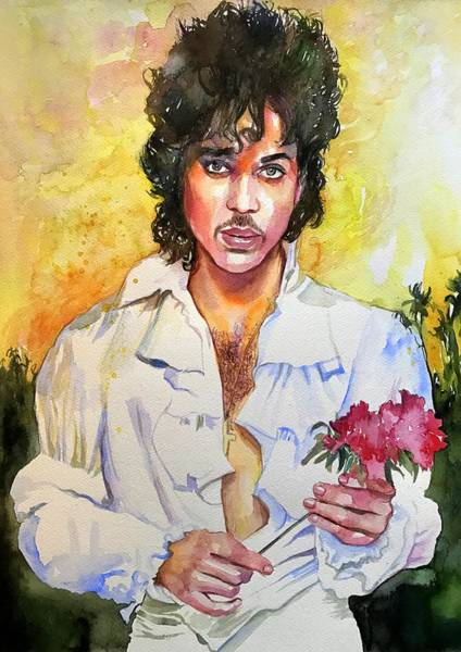 Pianist Painting - Prince Rogers Nelson Holding A Rose by Suzann's Art