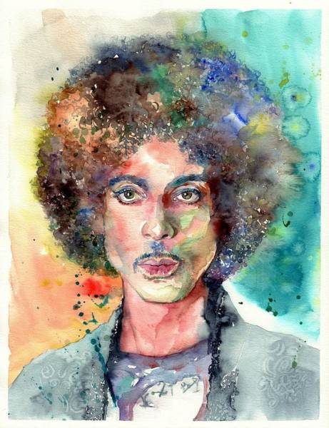 Rock Face Wall Art - Painting - Prince Rogers Nelson Young Portrait by Suzann's Art