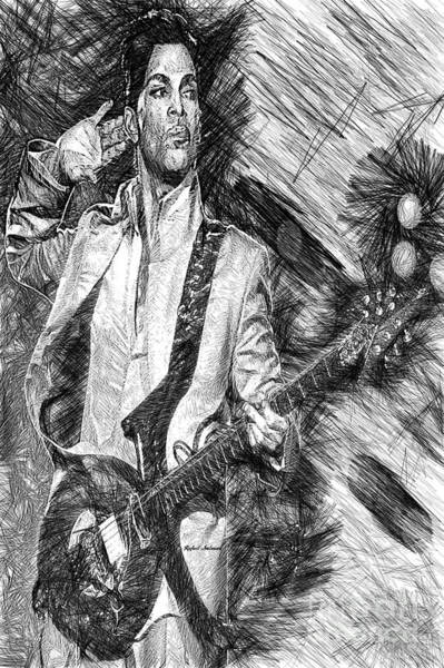 Digital Art - Prince - Tribute With Guitar In Black And White by Rafael Salazar