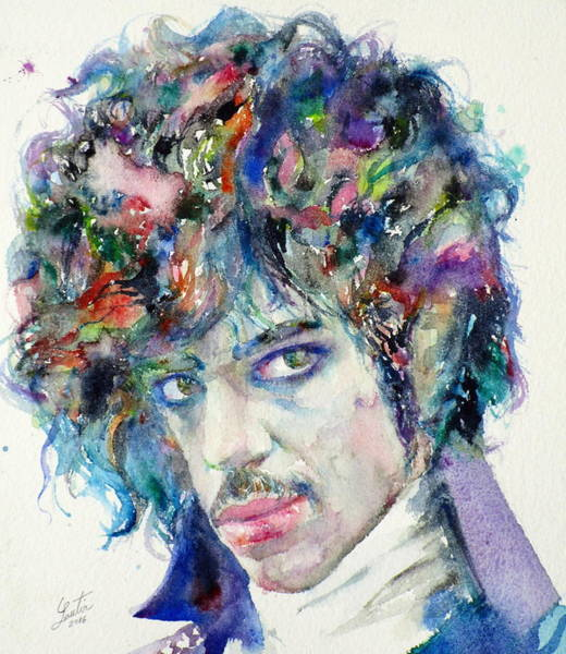 Prince Rogers Nelson Wall Art - Painting - Prince - Watercolor Portrait by Fabrizio Cassetta