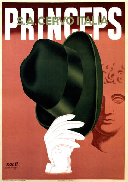 Hat Mixed Media - Princeps - Fedora Hat - S.a.cervo Italia - Vintage Art Deco Advertising Poster by Studio Grafiikka