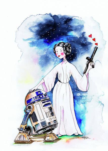 Phantasy Wall Art - Painting - Princess Leia Illustration by Isabel Salvador