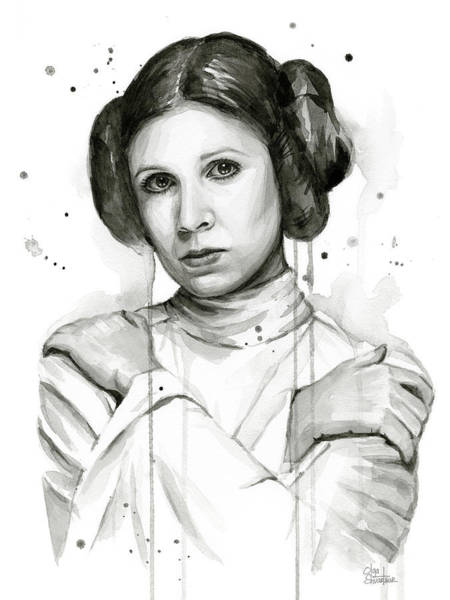 Star Wall Art - Painting - Princess Leia Portrait Carrie Fisher Art by Olga Shvartsur