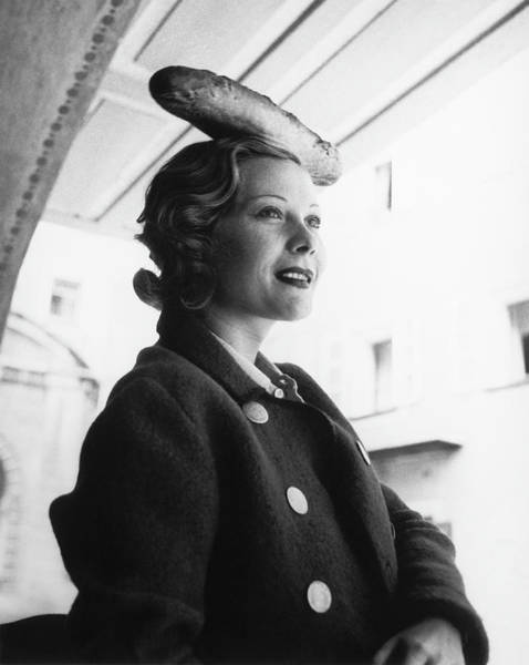 Bread Photograph - Princess Natalia Pavlovna Paley With A Baguette by Horst P Horst