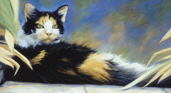 Domestic Cat Wall Art - Painting - Princess Of The Garden by Lucie Bilodeau