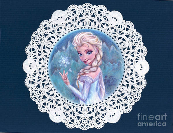 Doily Wall Art - Mixed Media - Princess On A Snowflake by Noelle Magana