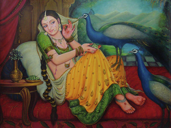Wall Art - Painting - Princess Painting Traditional Art A Beautiful Lady Sitting Portrait Oil Painting On Canvas  by A K Mundra