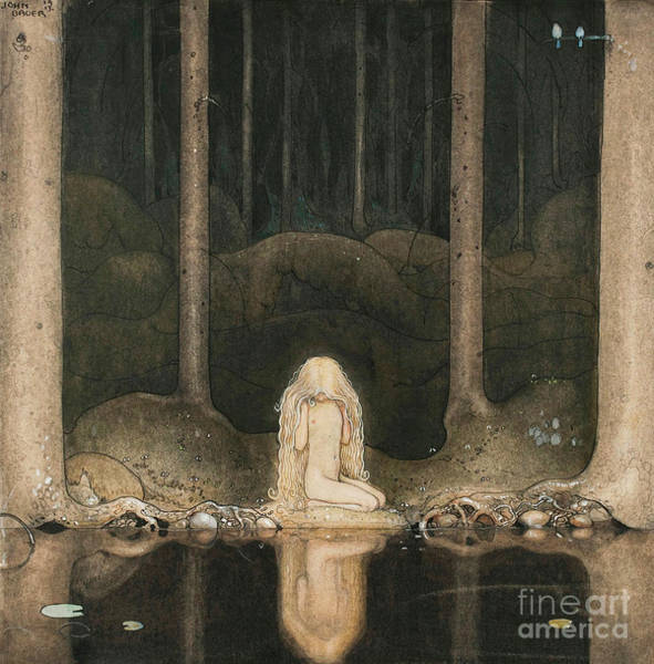 Wall Art - Painting - Princess Tuvstarr Looking At The Water Of The Lake With Nostalgia by John Bauer