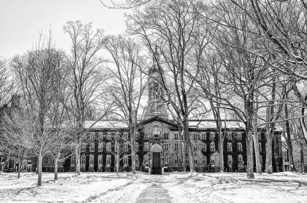 Wall Art - Photograph - Princeton University Nassau Hall In The Snow In Black And White by Bill Cannon