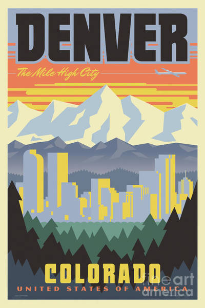Wall Art - Digital Art - Denver Poster - Vintage Travel by Jim Zahniser