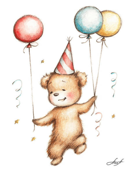 Birthday Gift Wall Art - Painting - Print Of Teddy Bear With Balloons by Anna Abramska