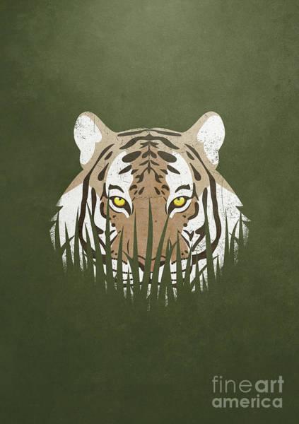 Crouching Digital Art - Hiding Tiger by Sinisa Kale