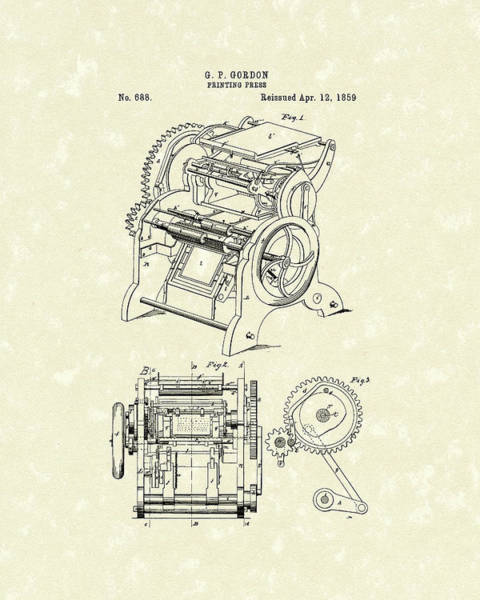Drawing - Printing Press Gordon 1859 Patent Art by Prior Art Design