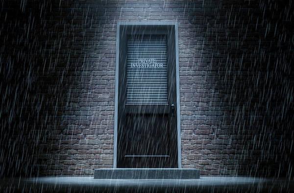 Doorway Digital Art - Private Eye Door Outside Rain by Allan Swart