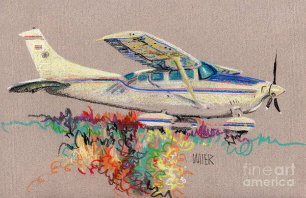 Plane Drawing - Private Plane by Donald Maier