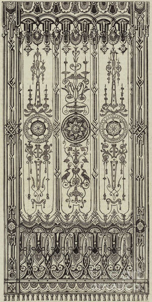 Decorative Drawing - Prize Design For A Roller Window Blind by English School