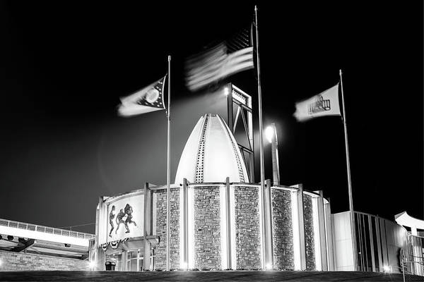 Ohio State Football Photograph - Pro Football Hall Of Fame At Night - Canton Ohio - Black And White by Gregory Ballos