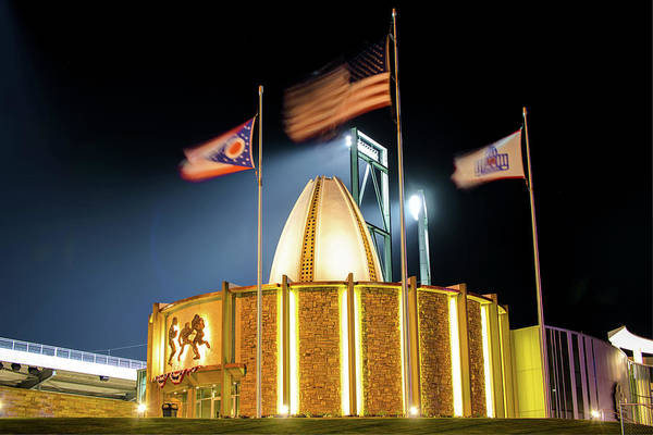 Ohio State Football Photograph - Pro Football Hall Of Fame At Night - Canton Ohio by Gregory Ballos