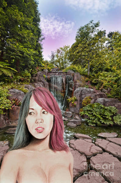 Pro Wrestler Wall Art - Mixed Media - Pro Wrestling Superstar Asuka By The Waterfall  by Jim Fitzpatrick