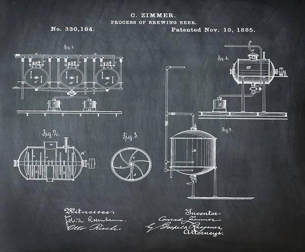 Wall Art - Digital Art - Process Of Brewing Patent 1885 In Chalk by Bill Cannon