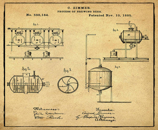 Digital Art - Process Of Brewing Patent 1885 In Sepia by Bill Cannon