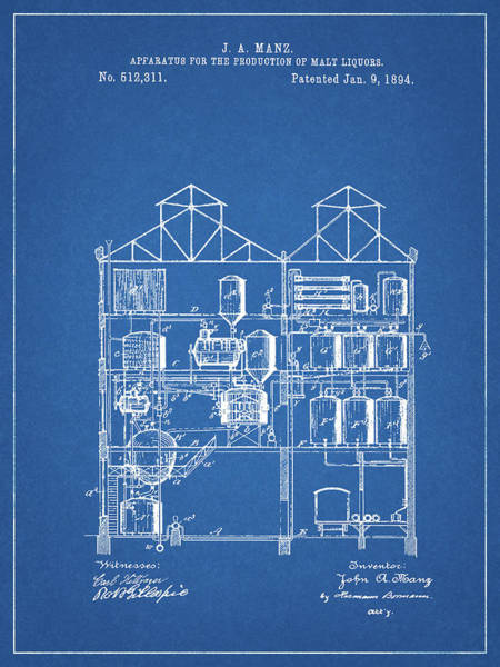 Drawing - Process Of Making Malt Liquor by Dan Sproul