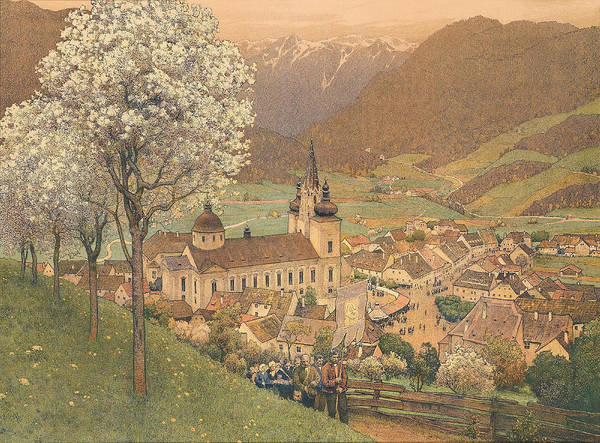 Blooming Tree Drawing - Procession At Mariazell by Gustav Jahn