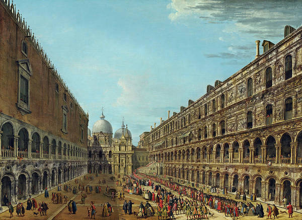 Painting - Procession In The Courtyard Of The Ducal Palace by Antonio Joli