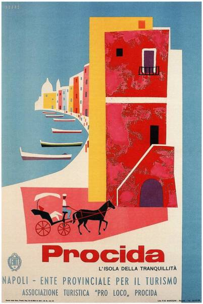 Naples Wall Art - Mixed Media - Procida - Naples, Italy - The Island Of Tranquility - Retro Travel Poster - Vintage Poster by Studio Grafiikka