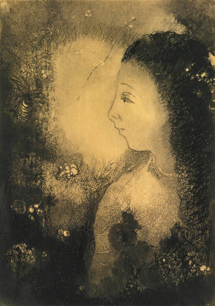 Drawing - Profile Of A Woman With Flowers by Odilon Redon