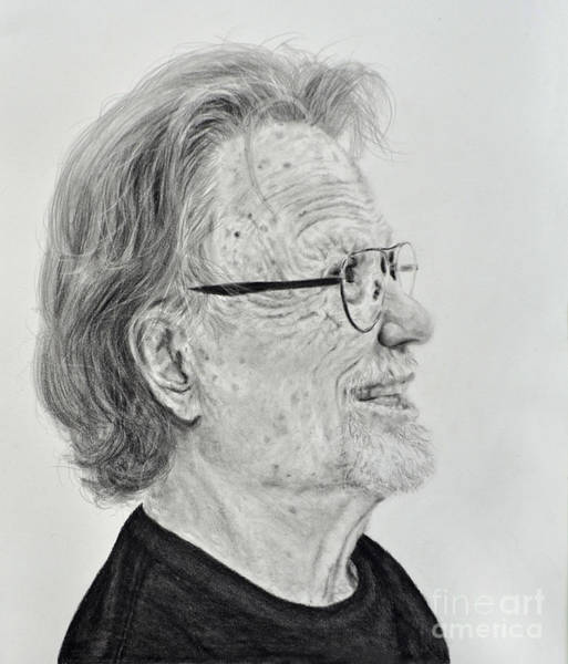 Night Time Drawing - Profile Portrait Of Kris Kristofferson by Jim Fitzpatrick