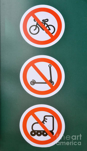 Roller Blades Photograph - Prohibiting Signs No Bicycles by Shay Levy