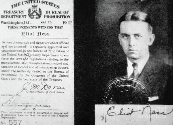 Cops Photograph - Prohibition Agent Id Card Of Eliot Ness by American School