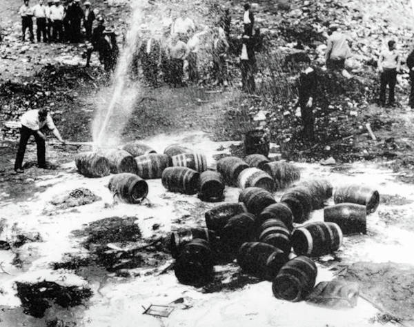 Photograph - Prohibition - Busting Up Beer Kegs by Bill Cannon