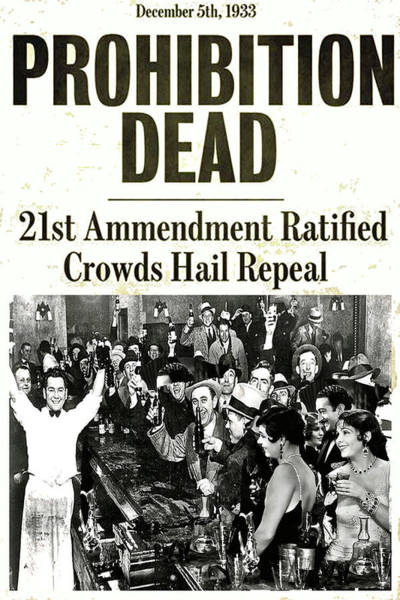 Whiskey Mixed Media - Prohibition Dead, 21st Amendment Ratified, Crowds Hail Repeal  by Thomas Pollart